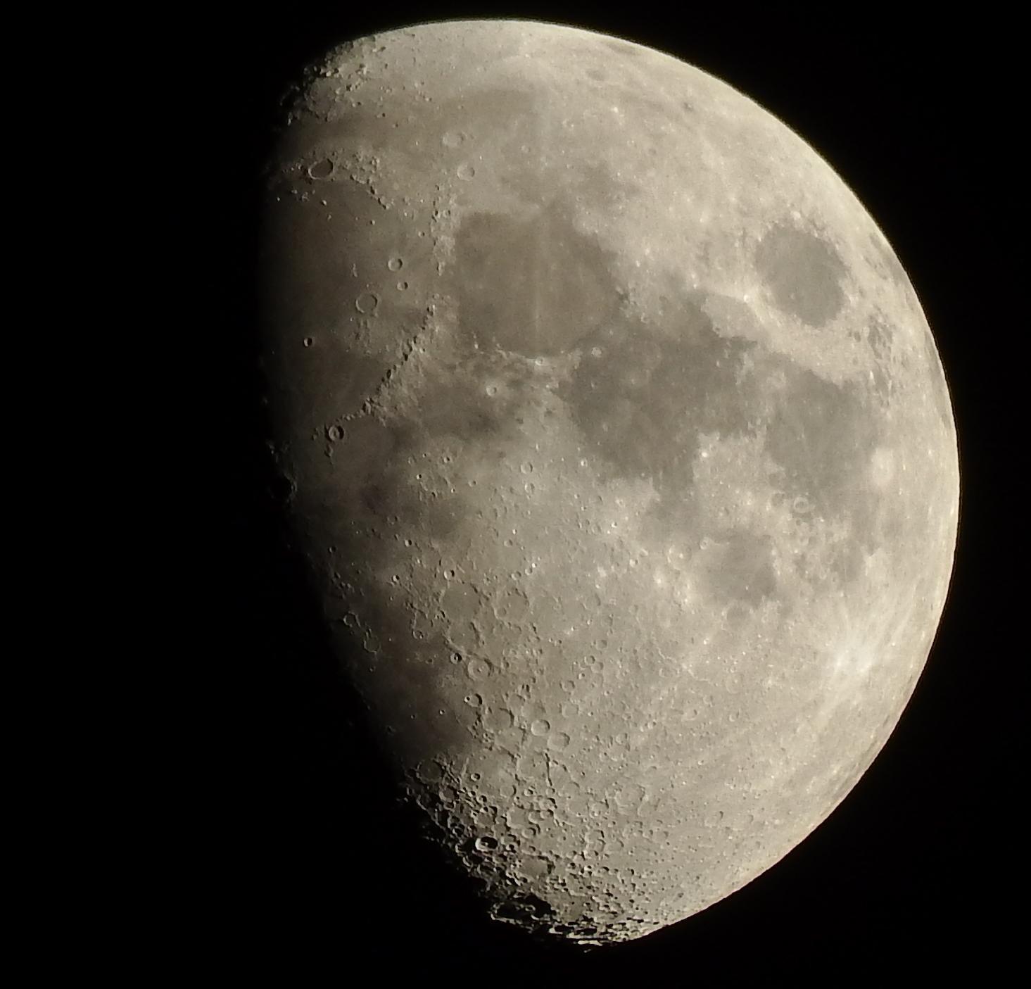 "Moon waxing gibbous - crop of Fujifilm S1 1200mm zoom using in-camera""low-key"" mode"